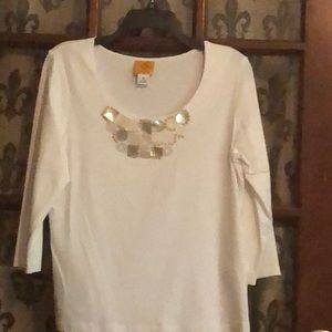 NWOT Ruby Rd Cotton Ivory Top Beaded never worn M